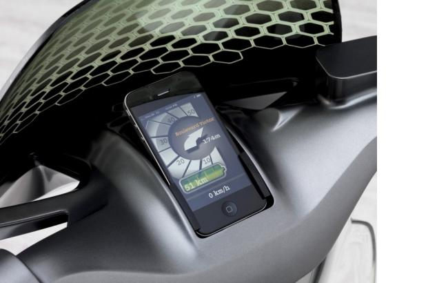 Smart E-Scooter / E-Roller Cockpit mit Smartphone Apple