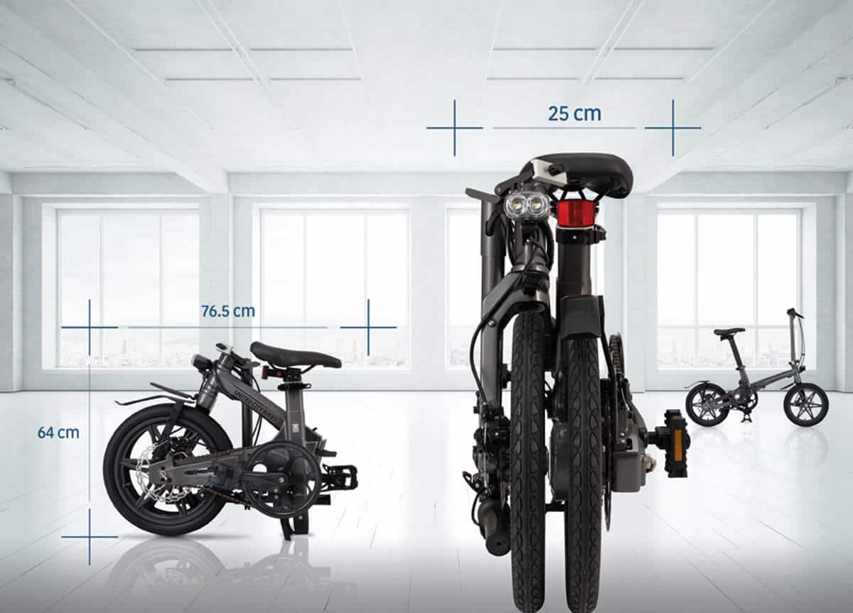 Faltrad E-Bike The One von United City Bikes zusammengeklappt Abmessungen