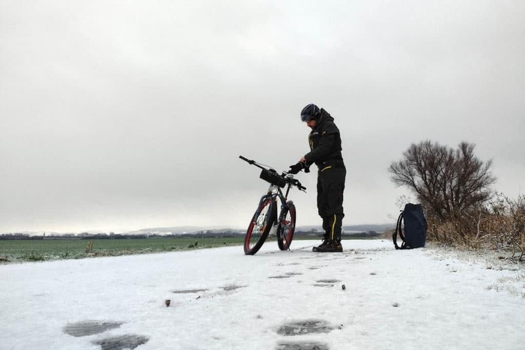Winterpendlertag 2021 - Verschneiter Fahrradweg